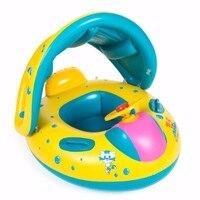 1 unids Lindo Barco Flotador De la Natación Inflable Del Bebé de Seguridad Infantiles Sombrilla Ajustable Asiento Del Barco Anillo de la Natación de la Piscina