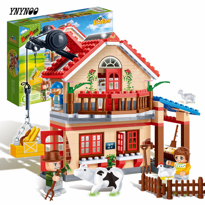 YNYNOO Banbao 8581 Animal Farm Building Block Sets figures 315pcs Educational DIY Construction Bricks Toys For Children Z199