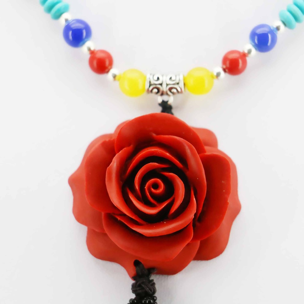 Online get cheap coral flower girl gifts aliexpress alibaba accessories series red zinnober rose flower lucky freshwater pearl necklace choker sweater chain jewelry crafts girls gifts dhlflorist Image collections