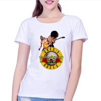 Guns N Roses Rock Band Short Sleeve T-shirt Women HipHop TShirts with Punk Music Funny T Shirts for Women in White Tee Shirt