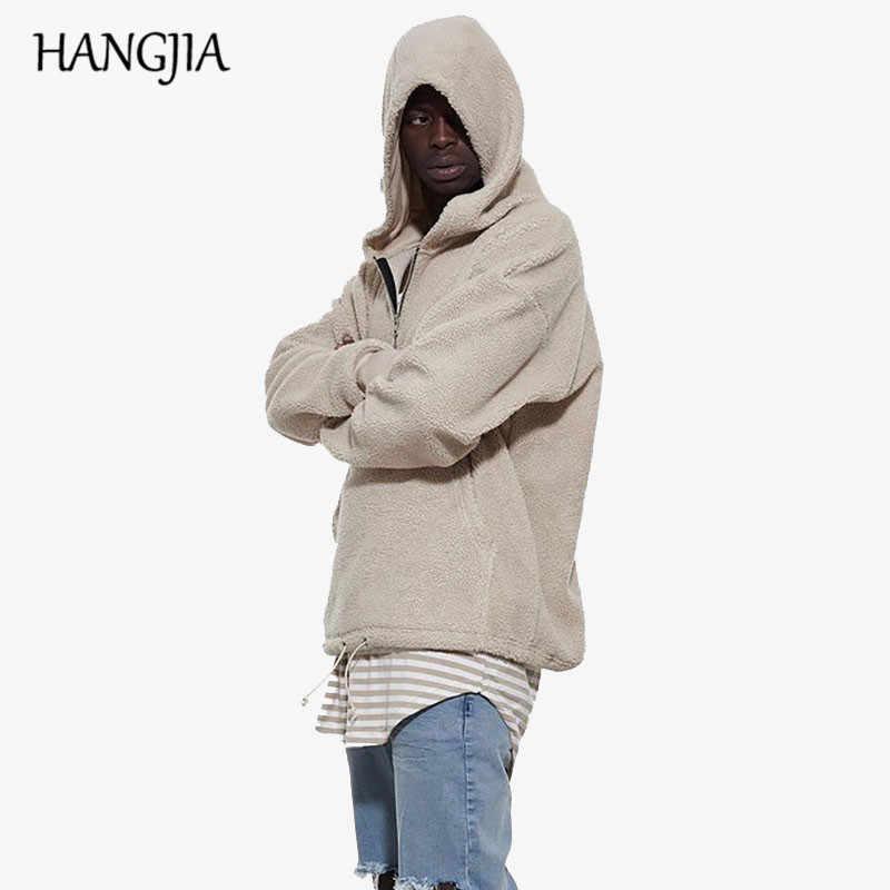 Sherpa Herren Hoodies Hip Hop Halb Zipper Pullover Hoodies Beige Schwarz Winter Kanye West Streetwear Männer Langarm Sweatshirt