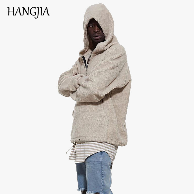 Sherpa Heren Hoodies 2018 Hiphop met halve rits Winter Kanye West - Herenkleding - Foto 2