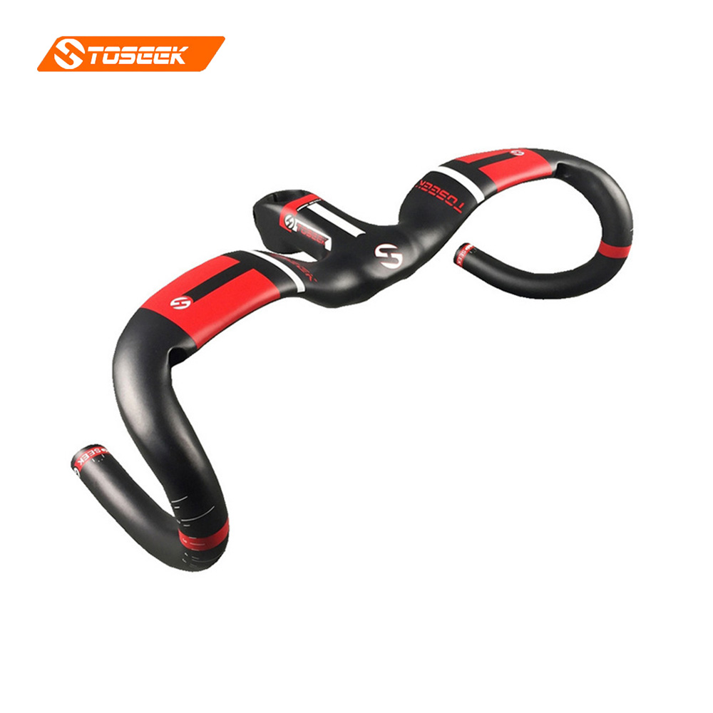 Carbon Fiber Bike Handlebar Stem Integrated Bicycle Road Bike Handlebar Aero Bent Bar Set 31.8MM black/red matt 400 420 440MM стоимость