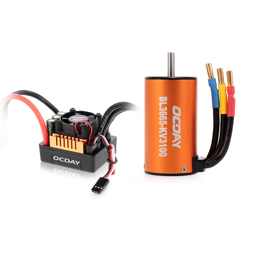 BL3665 3100KV RC Car Sensorless Brushless Motor 80A ESC for 1:10 RC Crawler Traxxas Redcat HSP Car RC Truck Parts 1 10 80a adjustable sensored sensorless brushless esc for car truck