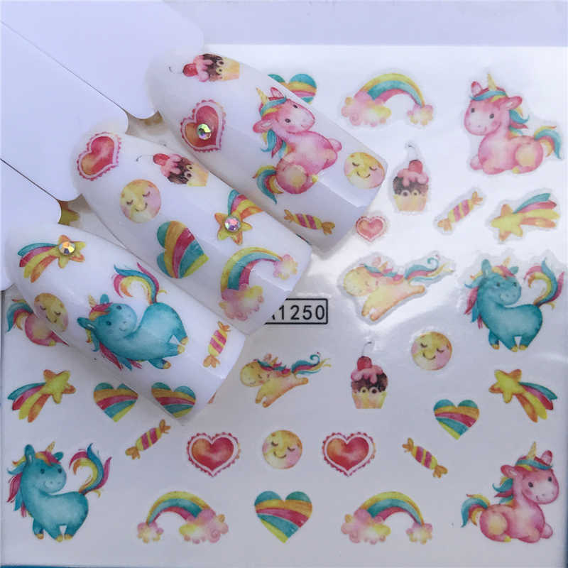 FWC Nail Art Water Transfer Black Flowers Stickers For Nail Lace Tips Nail Art Decorations Foil Set