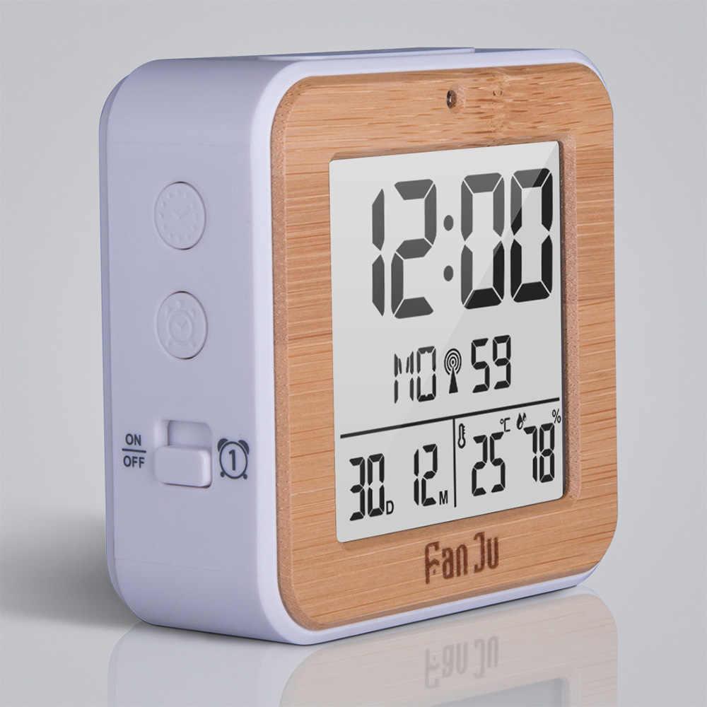 Hình chữ nhật FJ3533 LCD Nhỏ Kỹ Thuật Số Đồng Hồ Báo Thức Trong Nhà Nhiệt Độ Độ Ẩm Đồng Hồ Báo Thức Kép Ánh Sáng Ban Đêm Cảm Biến Chức Năng Báo Lại