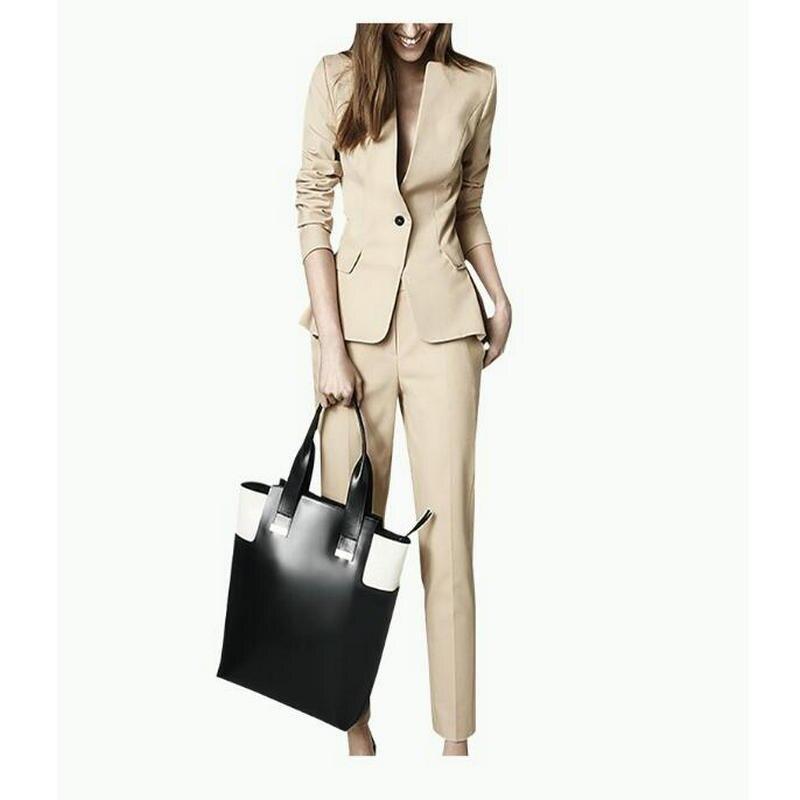 2019 новый комплект из 2 предметов, строгие брюки, костюм с карманом, Женская рабочая одежда, Офисная женская форма, стильная деловая куртка со