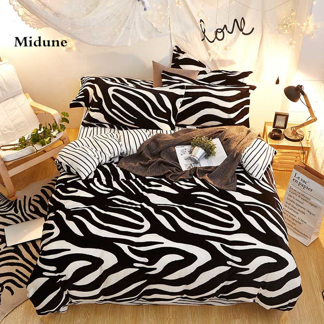 Perfect Home Textiles Zebra Stripes Thick Cotton Comfortable Bedding Set King Queen  Size, Bed Linen Bed
