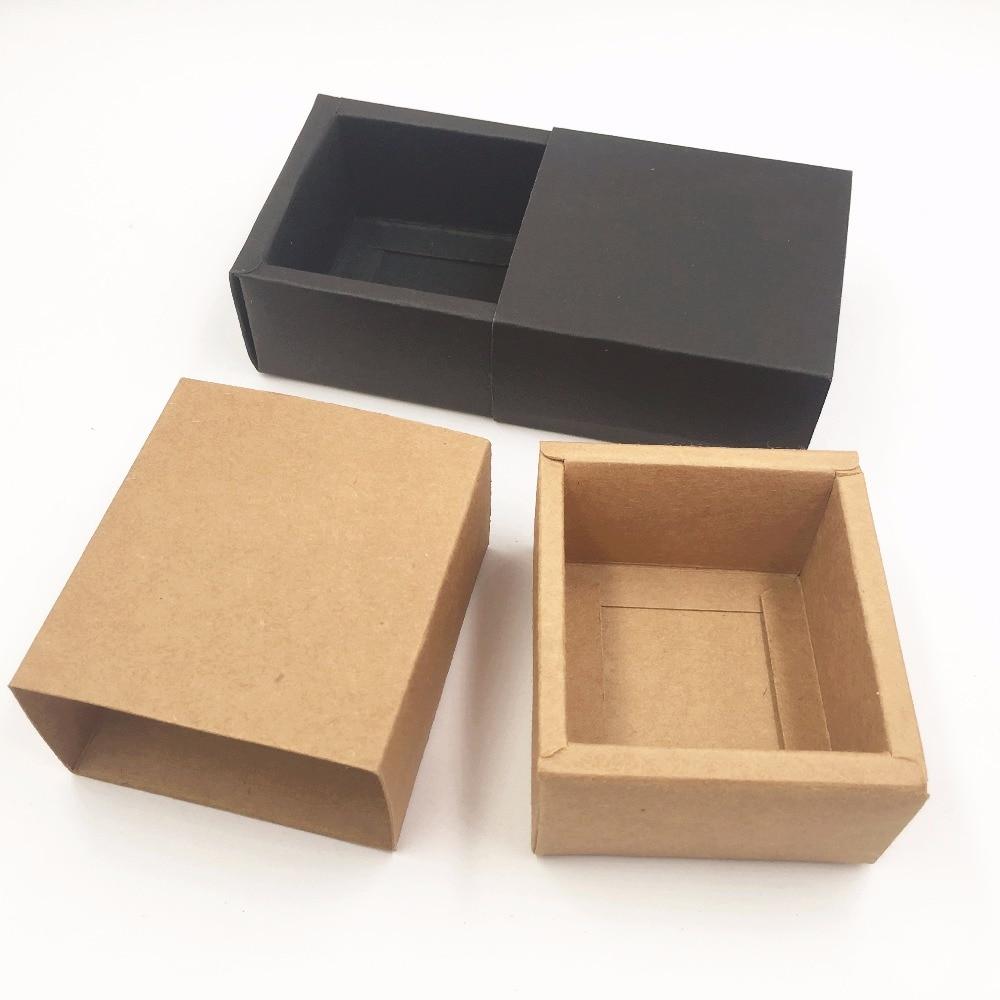 50pcs Kraft Paper Drawer Boxes Diy Blank Gift Boxes For