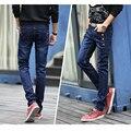 Mens Invierno Espesar Stretch Denim Jeans Warm Fleece Flaco Jean Botones Ropa de Diseño de Alta Calidad Negro Azul Lápiz Pantalones