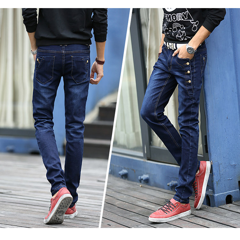 ФОТО Mens Winter Thicken Stretch Denim Jeans Warm Fleece Jean Buttons Designer Clothes High Quality Skinny Black Blue Pencil Trousers