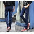 Mens Winter Thicken Stretch Denim Jeans Warm Fleece Jean Buttons Designer Clothes High Quality Skinny Black Blue Pencil Trousers