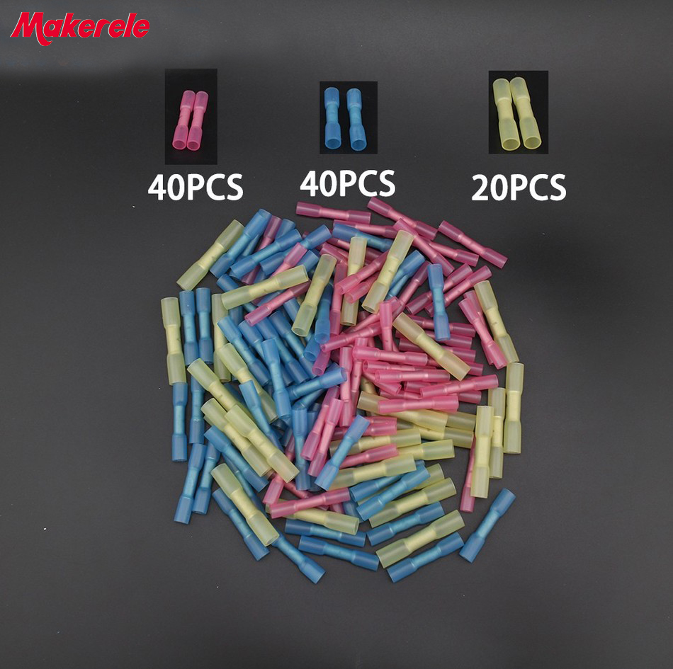 100pcs Insulated Heat Shrink Butt Connectors Wire Electrical Crimp Terminals 22 10 AWG Kit in Terminals from Home Improvement
