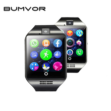 BUMVOR Free shipping  Q18 Passometer Smart watch with Touch Screen camera TF card Bluetooth smartwatch for Android IOS Phone