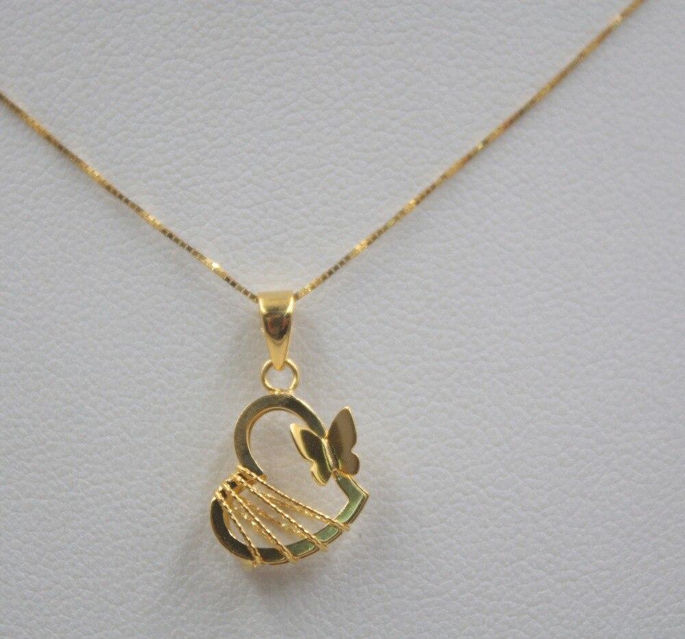 الحقيقي 18 K وردة صفراء حلية ذهبية المرأة القلب فراشة الرسم الجوف (فقط قلادة) قلادة أفضل هدية 0.7 0.8g مجوهرات سيدة-في مفاتن من الإكسسوارات والجواهر على  مجموعة 1
