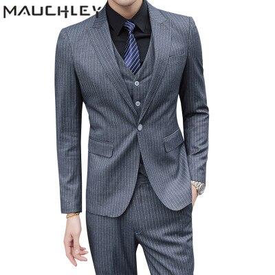 Men Designer Suit 3 Pieces Mens Suit With Pants Retro Grey Pinstripe Wedding Suits for Men Slim Fit Plus Size 5XL 2018 Mauchley