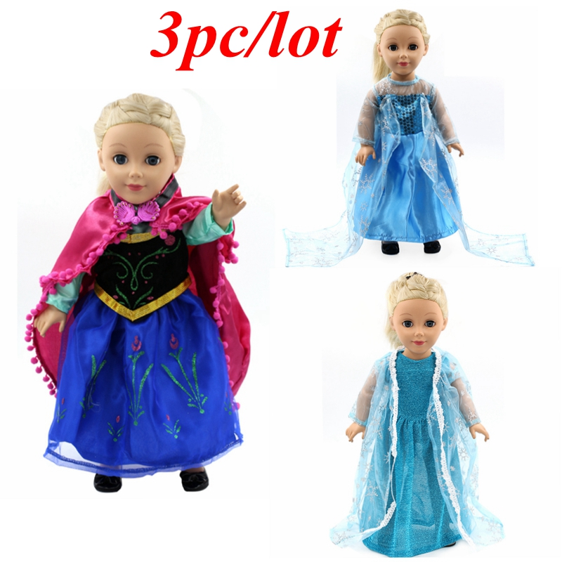 3pc/lot Doll Clothes American Girl Princess Anna Elsa Dress Suit for 18 inch American Girl Doll Baby Born Zapf Doll Clothes Z11 american girl doll clothes elegant color flower print long dress doll clothes for 18 american girl best gift 5 colors d 2