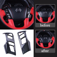 Black Carbon Fiber ABS Steering Wheel Button Cover Trim For Nissan Patrol Y62 2012 2018 Interior Mouldings Accessories 2Pcs