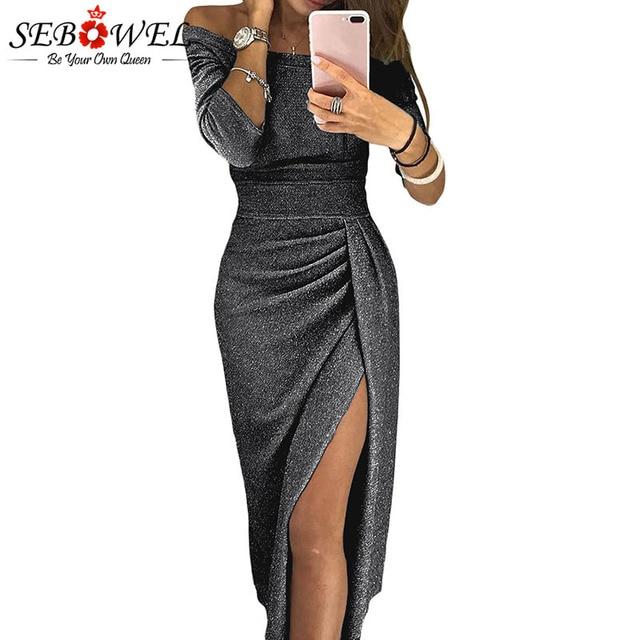 3af82813616e94 SEBOWEL Vrouw Metallic Glitter Off de Schouder Jurk Sexy Hoge split Dames  Party Kleding Vrouwelijke Lange