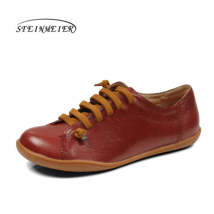 Women sheepskin Leather casual shoes breathable wine flat round toe loafers for woman sneakers leisure comfortable shoes summer women casual shoes breathable mother shoes women flat platform soft comfortable braided shoes light loafers for woman