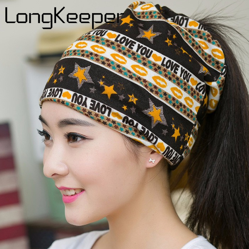 LongKeeper 2017 New Spring & Autumn Beanies Hat For Women 3 Ways To Wear Star Skullies LOVE YOU Printed Lovers Bonnet Beanies sleep professor spring love