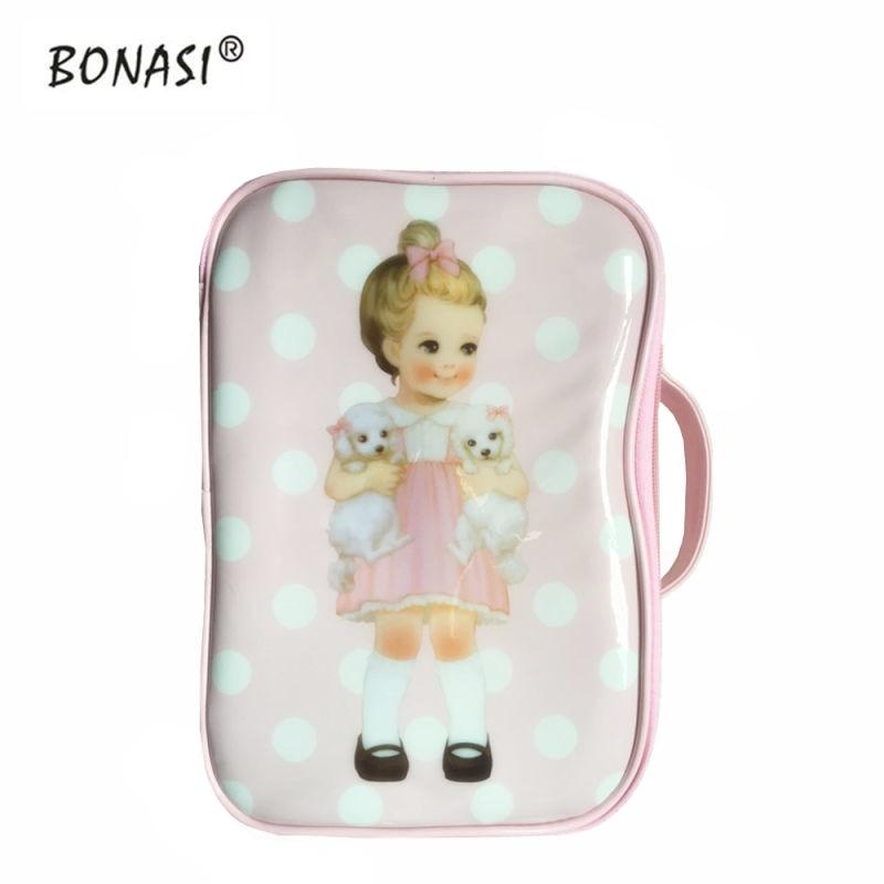 2017 Cartoon Doll Mate Girls Design Waterproof Storage Bag Travel Toiletry Bag Leather Make up Cosmetic Bag Wash Bag