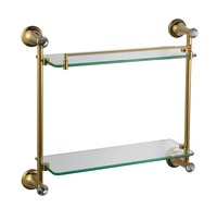 Free shipping gold Finish BATHROOM ACCESSORIES CRYSTAL DOUBLE BATHROOM GLASS SHELVES