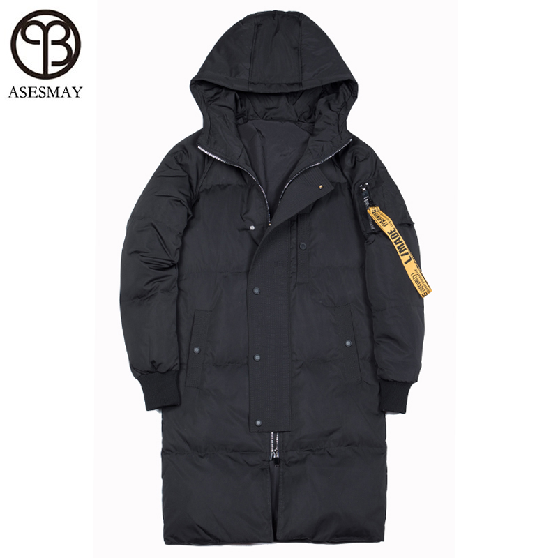 Asesmay Brand Clothing Luxury Men Winter Jacket Hooded   Down     Coats   Man Thick Causal Warm Wellensteyn Parkas long White Outwear