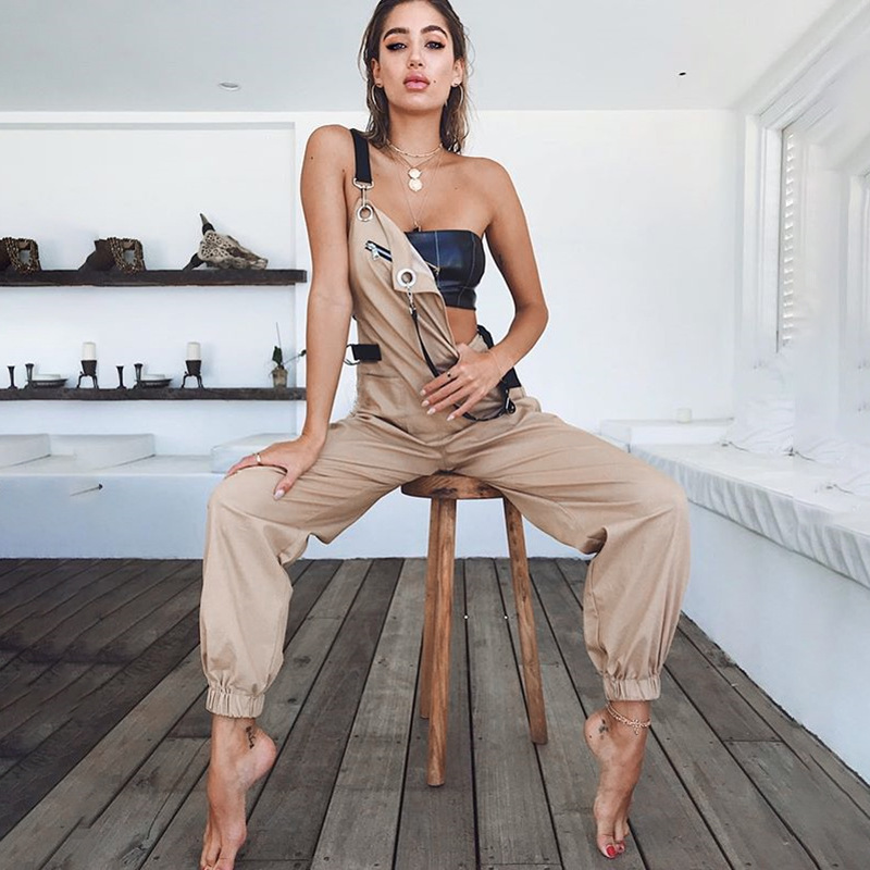 Hip Hop Patchwork Catsuits One-piece Coverall   Pants   Women High Waist Cargo   Pants     Capris   Solid Colors Suspender Trousers Female