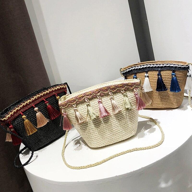 franjas pico bolso sacos de palha estilo