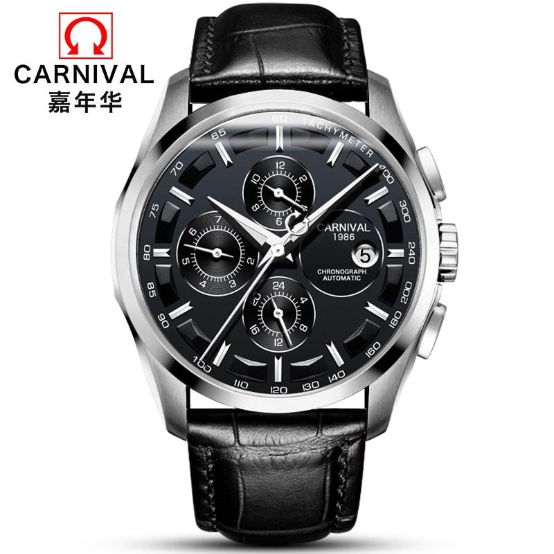 Модные механические часы для мужчин, роскошный бренд, карнавал, многофункциональные автоматические часы для мужчин, самовзводные, календарь, кожаный ремешок, светящийся