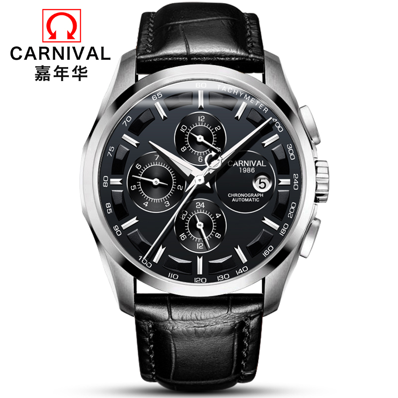Fashion Mechanical Watch Men Luxury Brand CARNIVAL Multi Function Automatic Watches Men Self Wind Calendar Leather Band Luminous