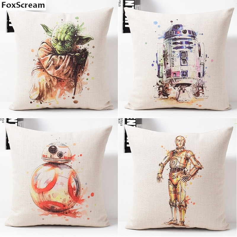 Star Wars Cushion Cover Home Decor Watercolor Decorative Pillows Covers Decoration Linen Throw Pillows Cases For Sofa 45x45cm