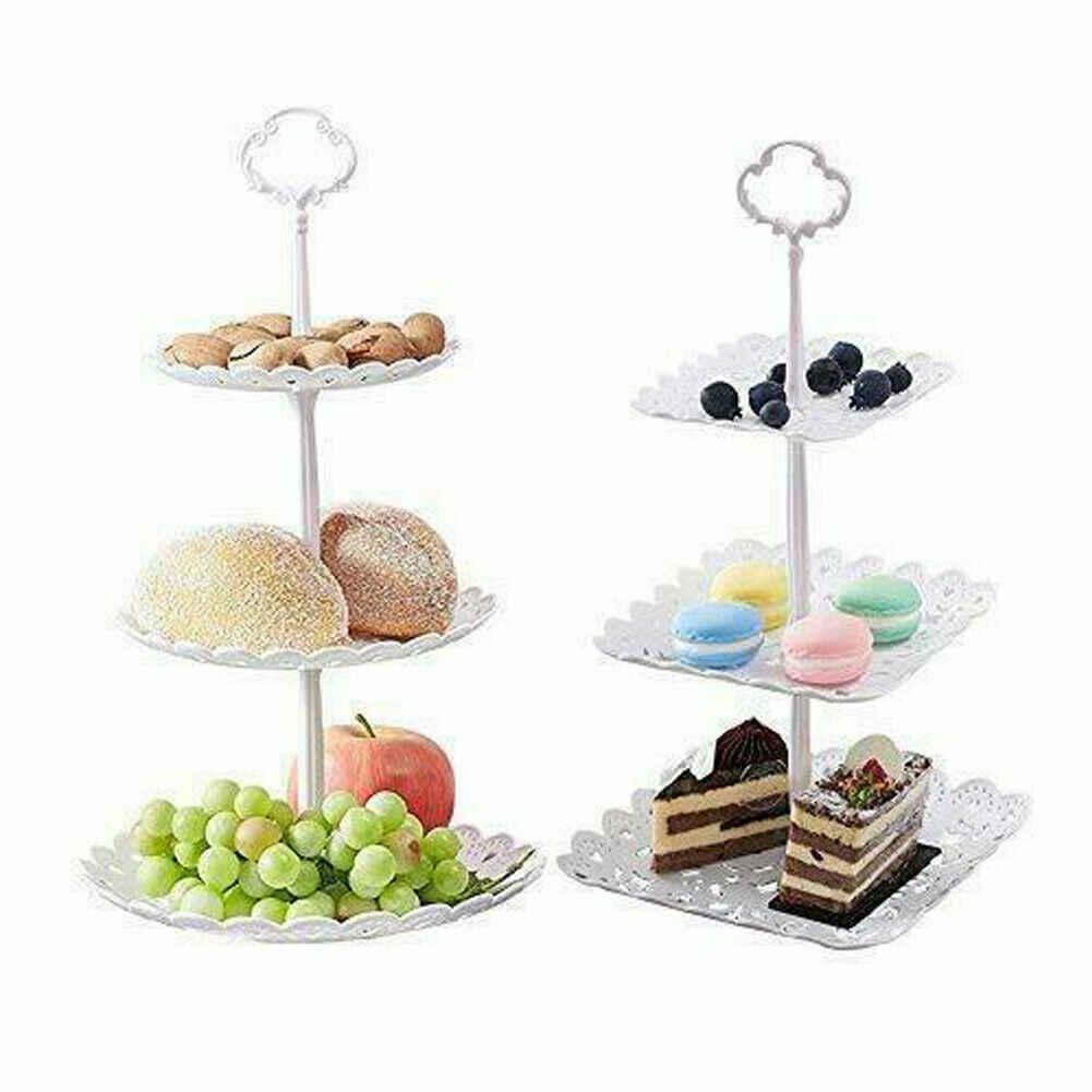 3 Tier פלסטיק עוגת דוכן הצהריים תה חתונה צלחות מפלגה כלי שולחן בישול עוגת חנות שלוש שכבה עוגת מדף אחסון מגש