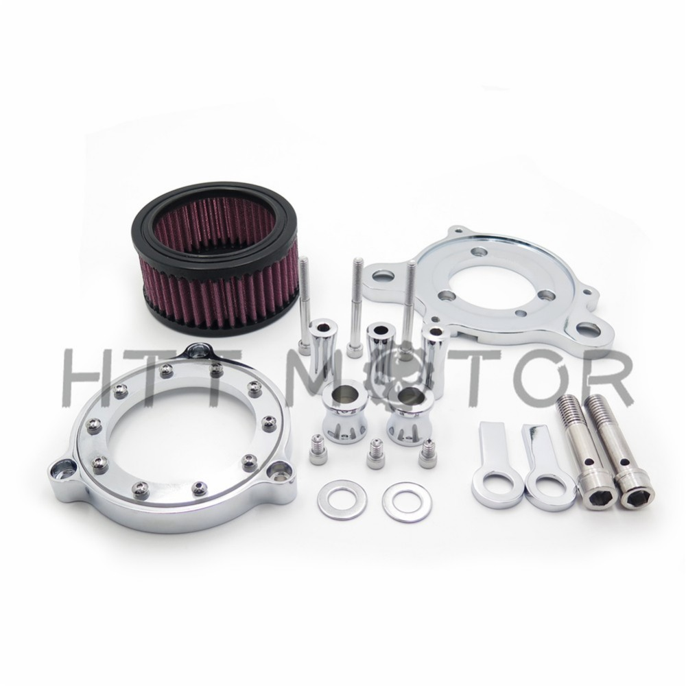 Aftermarket free shipping Motorcycle Parts Chrome Air Cleaner Intake Filter System Kit Fit Harley Sportster XL 883 1200 04-15 купить