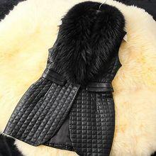 Brieuces new autumn and winter woman PU stitching fox fur collar long paragraph jacket coat