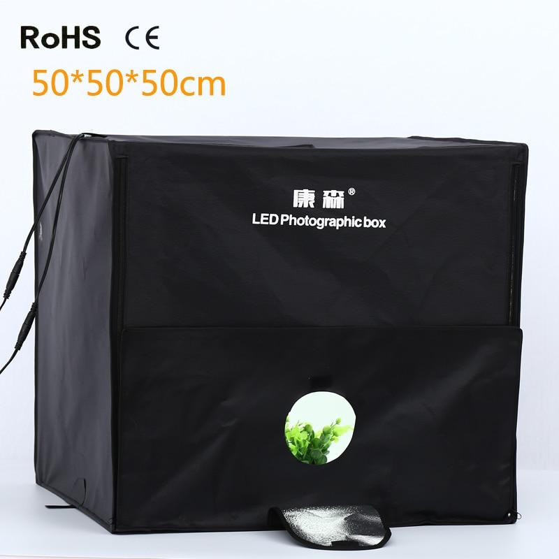 цены  LightupFoto New 50*50cm LED Photo Studio Softbox Shooting Light Tent Soft Box Portable Bag AC Adapter for Jewelry Toys Shoting