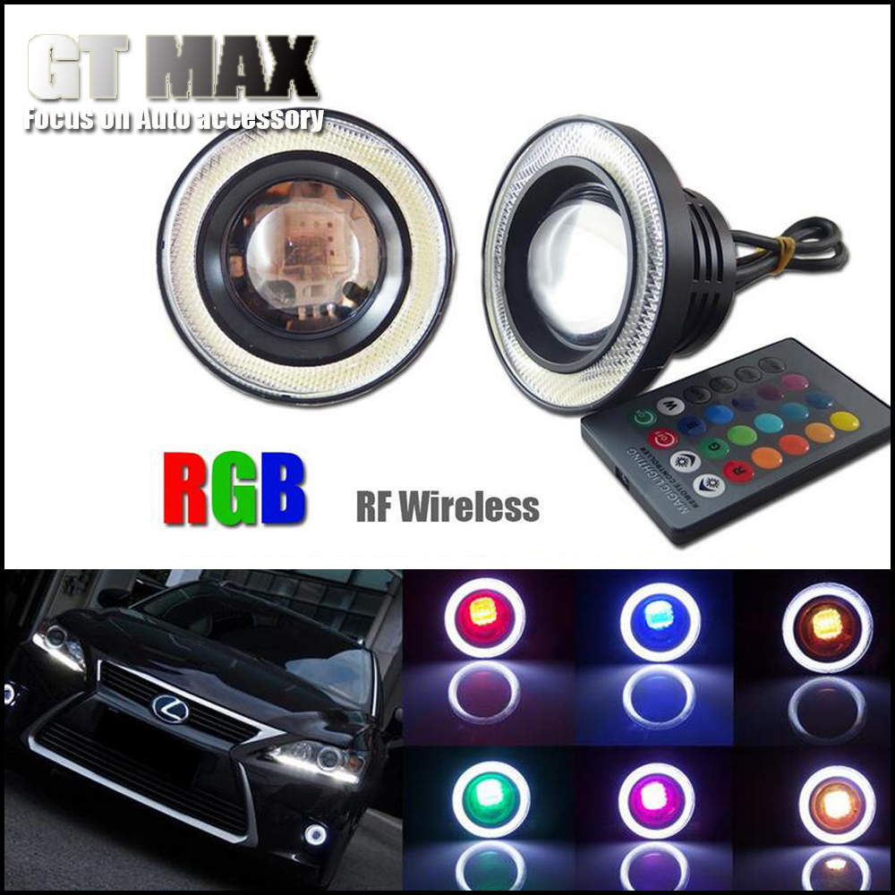 2pcs Wireless Control RGB HIgh Power 3.5 inches Angel Eye LED ...