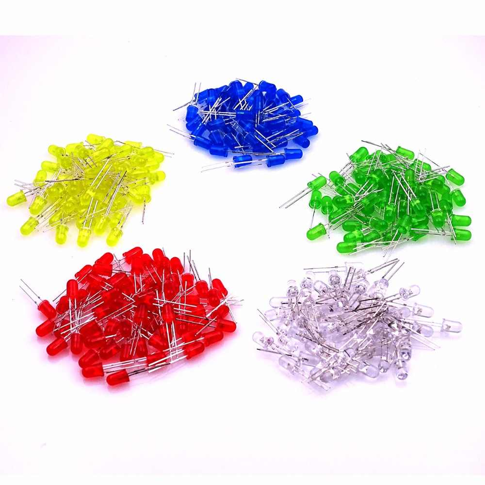 100 piezas 5mm LED diodo Kit surtido blanco rojo verde azul amarillo DIY LED Luz