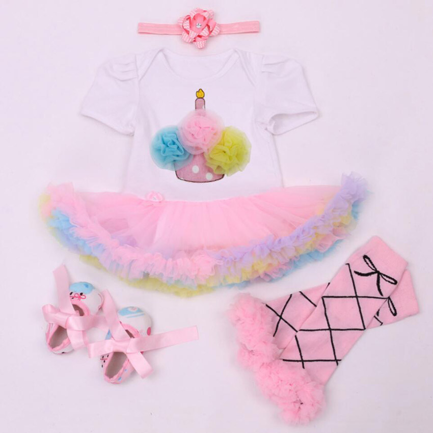4PCs per Set Pink Cake 1st 2nd Baby Girls Birthday Party Dress Jumpersuit Headband Shoes for 0-24Months Free Shipping