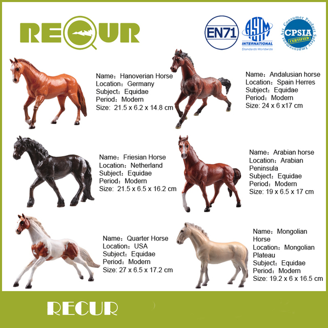 6 Pcs/Set Recur Toys Horse Series High Simulation PVC