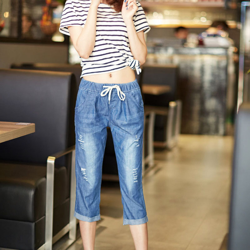 Large Size Hot Fashion Jeans Women Summer Denim Harem Pants Fat MM Elastic Waist Calf-length Pants Ripped Bleached Denim Pants wangcangli jeans women shorts light blue large size denim fat sister elastic waist mid waist jeans moustache effect summer 4xl