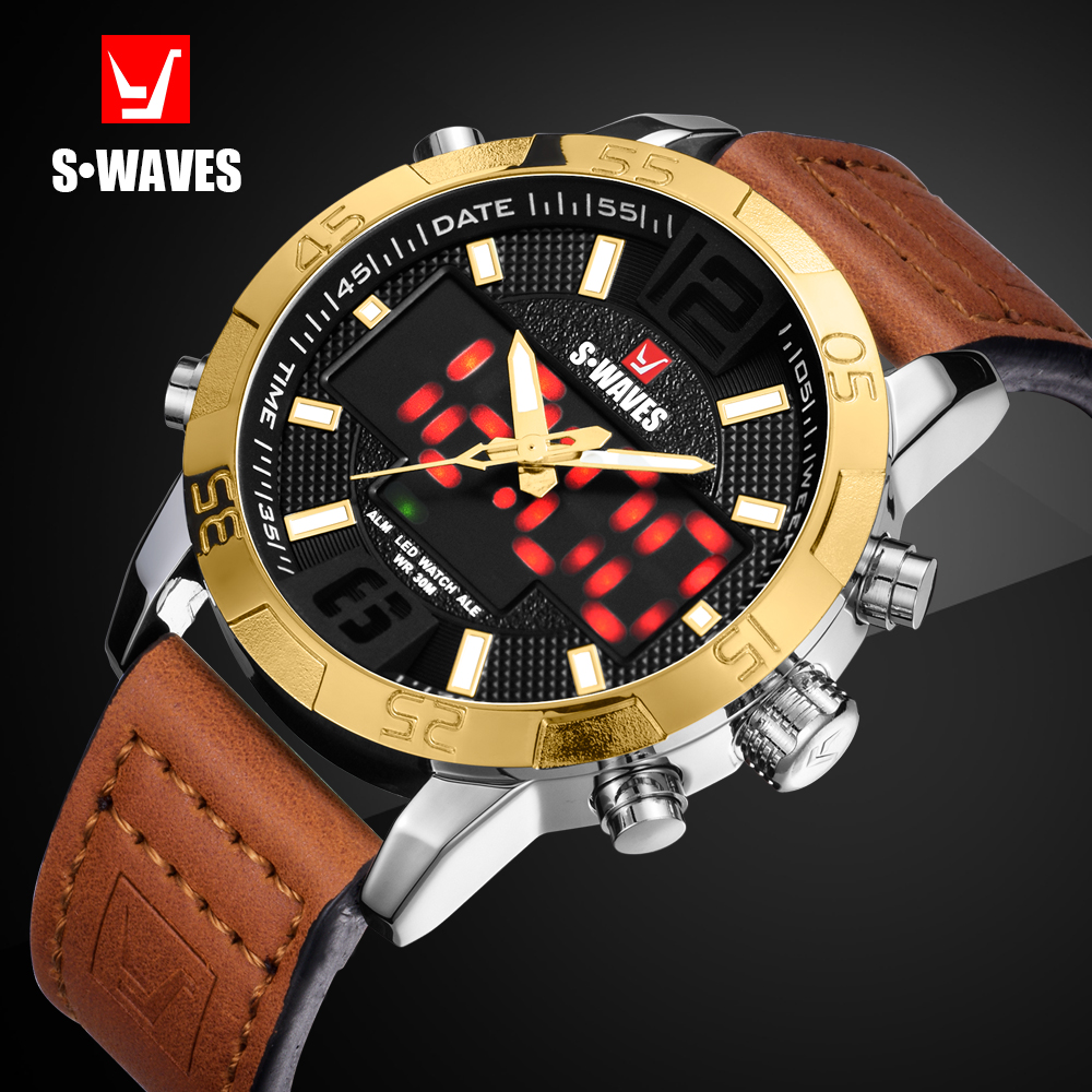 SWAVES Watches To Luxury Brand Leather Sport Casual Men Watch Quartz LED Digital Clock Waterproof Military Wrist Watch SW2055P