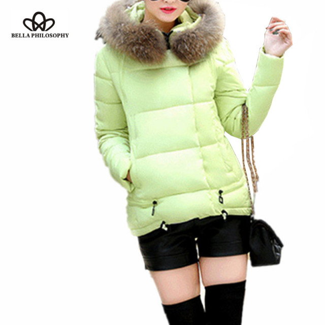 2016 winter new short A line cotton padded plus size women down jacket coat faux fur collar hoody