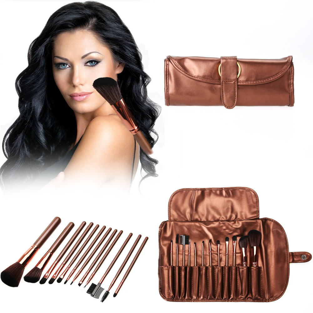 12pcs/Set Professional Coffee Makeup Brushes Powder Eyeshadow Blush Brush Set With PU Cosmetic Bag GUB#  12 pcs cosmetic pu brush bag horsehair makeup brushes set