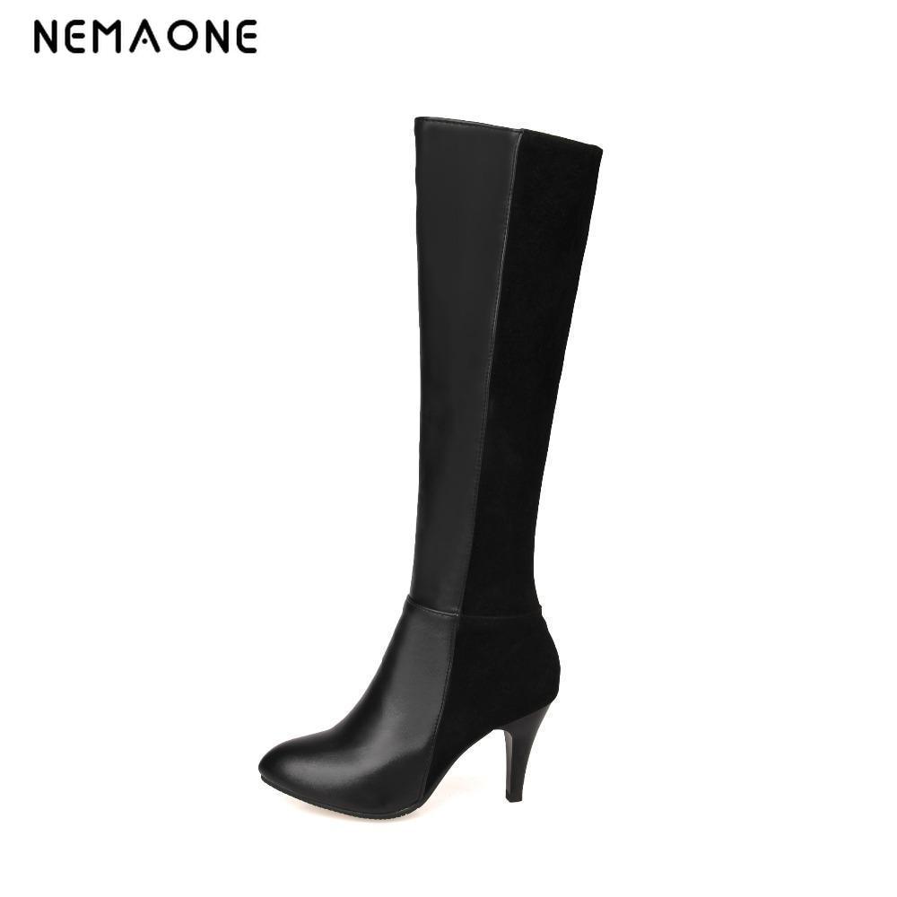 где купить NEMAONE Fashion Japanned Leather Side Zip Back Lace Up Platform High Heels Over The Knee Boots Sexy Steel Boots Plus Size 43 по лучшей цене