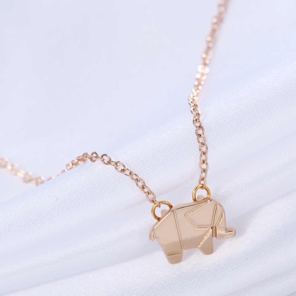 Cxwind 1 個ステートメント折り紙象ネックレスペンダント幾何動物象ネックレスウッドランドの宝石チェーン
