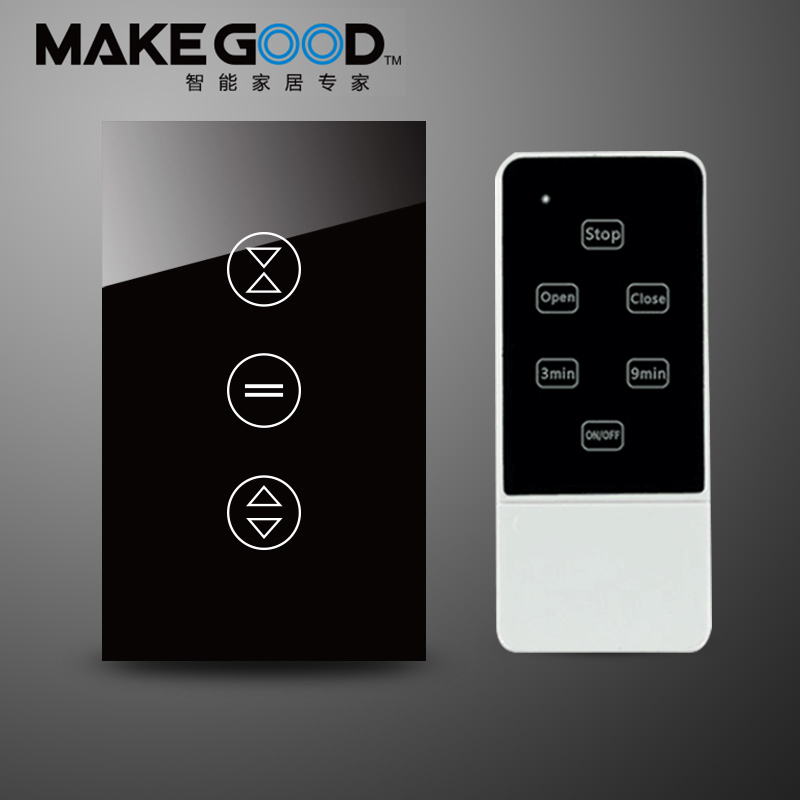 Makegood Luxury Galss Panel US Type 50Hz~60Hz Remote Control Electric Touch Curtain Wall Switch With LED indicatorAC240 tp760 765 hz d7 0 1221a