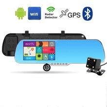 Новый 5 inch Зеркало Заднего Вида Автомобиля Камеры Радар-Детектор Bluetooth Автомобильный ВИДЕОРЕГИСТРАТОР Gps-навигация с Двумя Объективами Парковка Wi-Fi Видеомагнитофон 1080 P