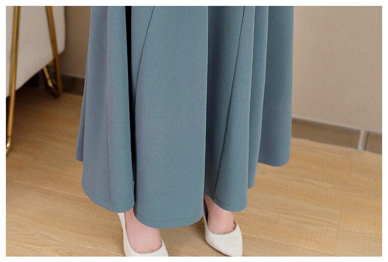 Spring and Autumn 2019 New Women's Dresses Korean Edition Long Sleeve Dresses Overlap Long Popular Temperament with Bottom 153